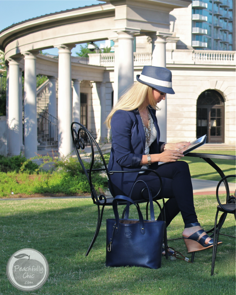 a modern navy classic outfit - peachfully chic