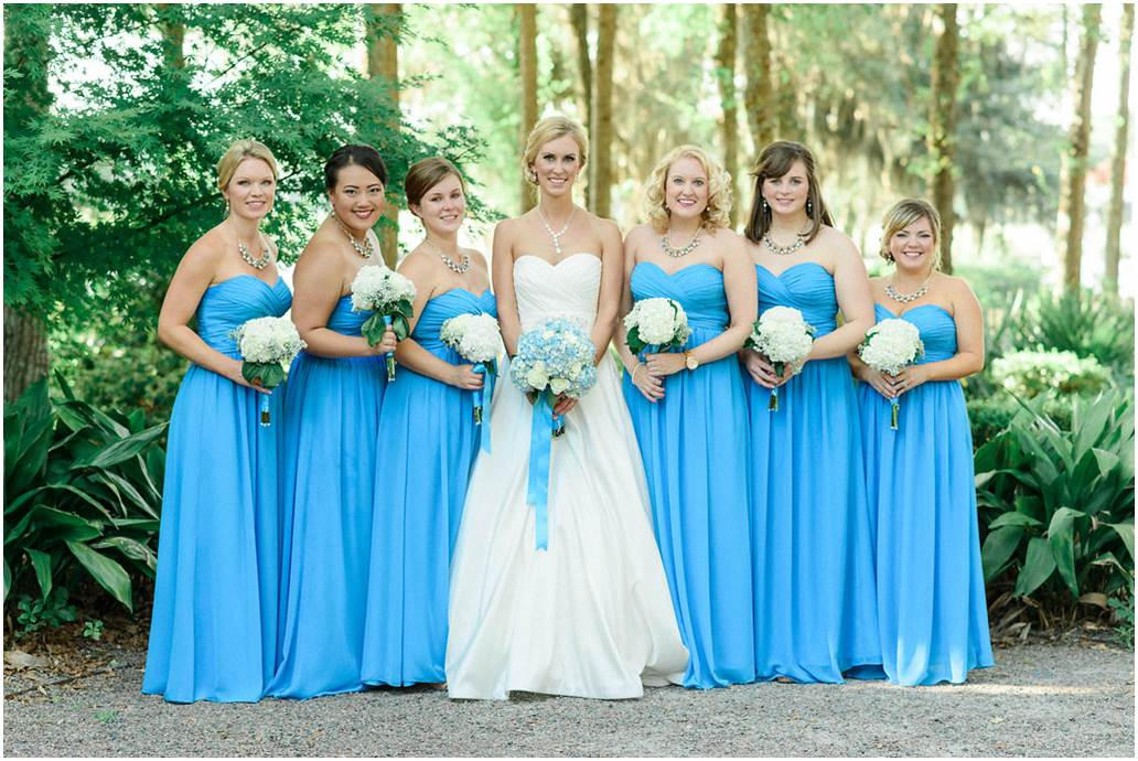 Peachfully Chic Low Country Wedding Blue Bridesmaids3