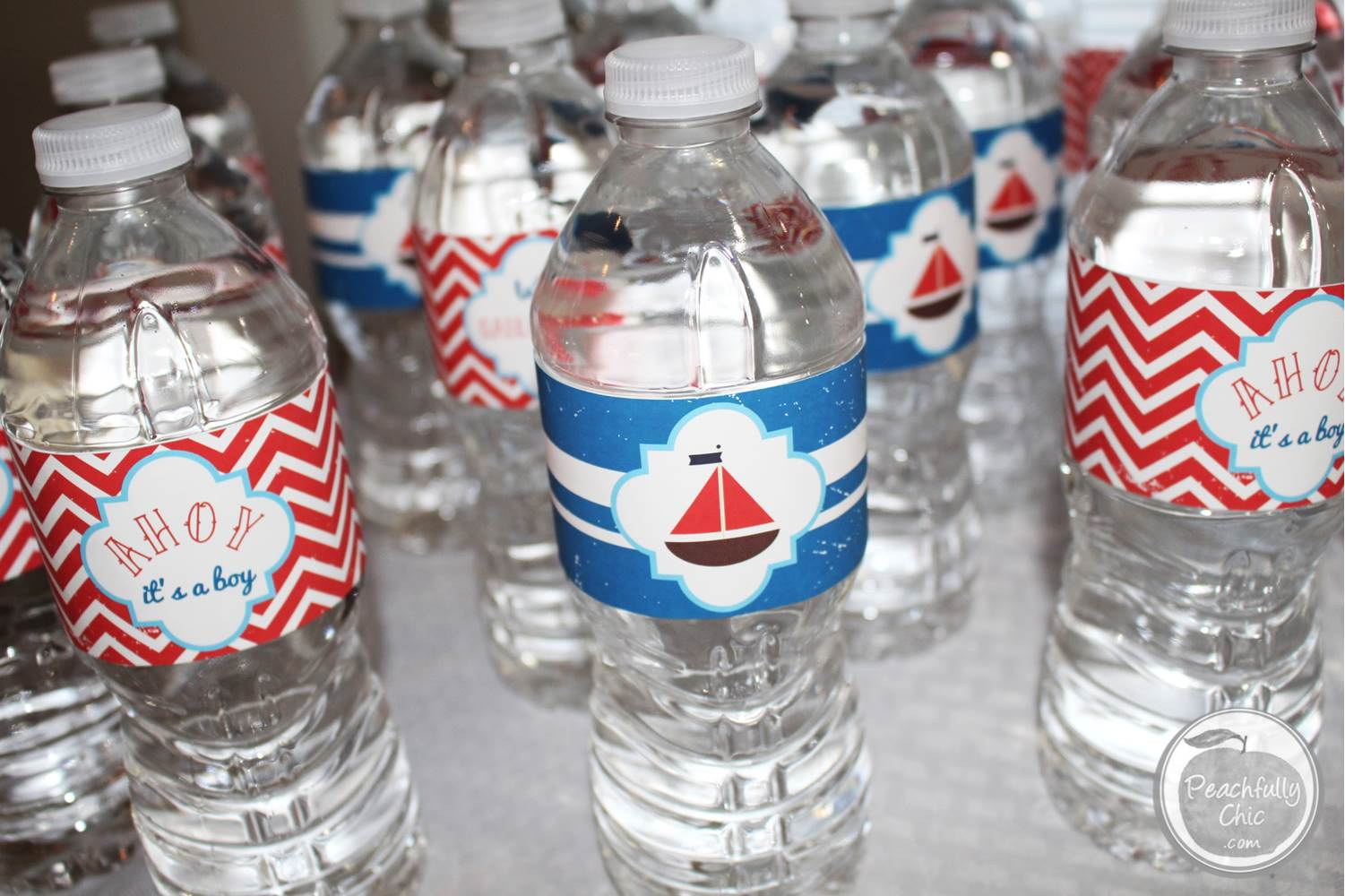 Nautical baby shower ideas peachfully chic for Baby bottle decoration ideas