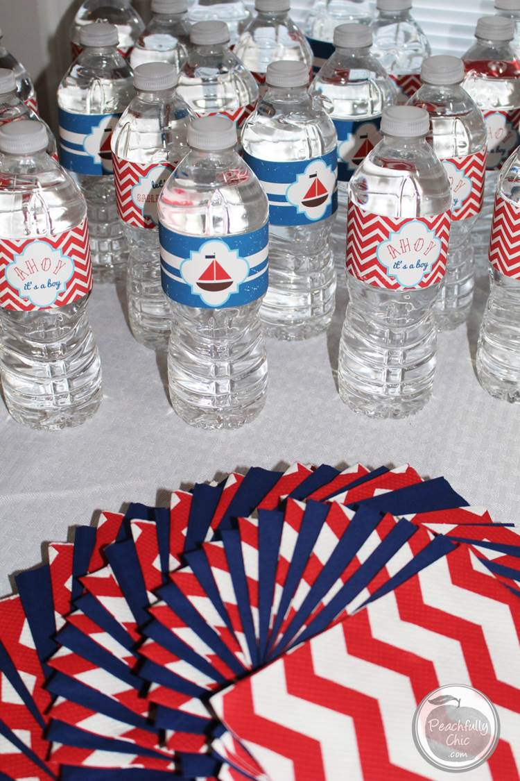 nautical baby shower decor ideas water labels 1