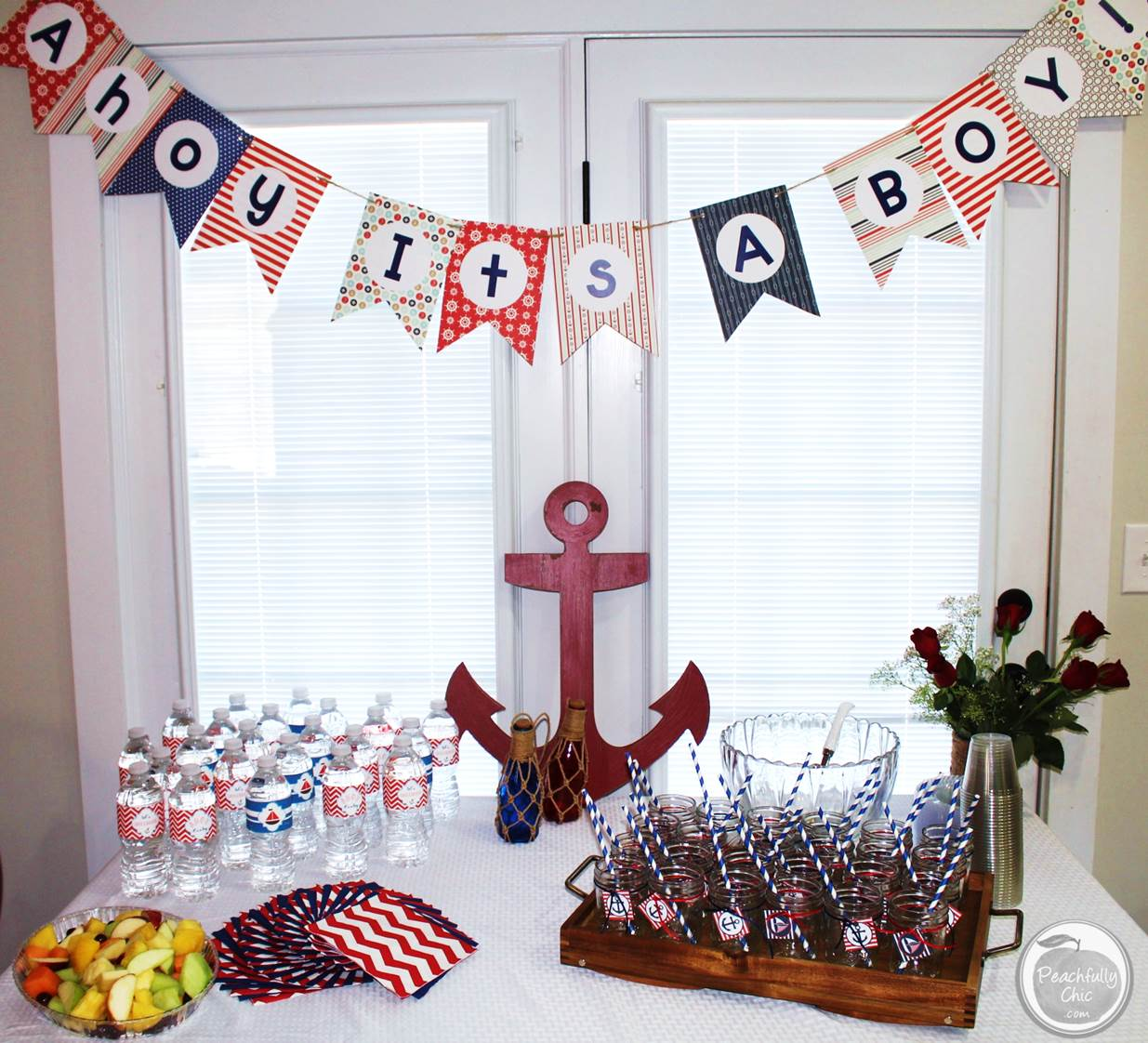 Nautical baby shower ideas peachfully chic for Baby shawer decoration