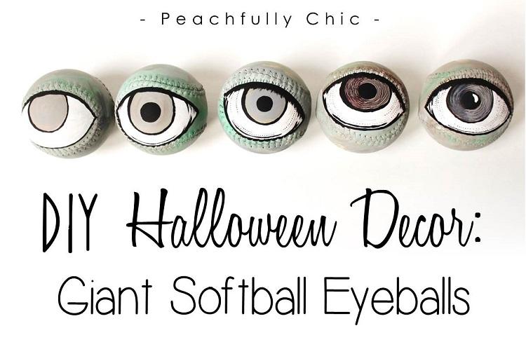 diy halloween decor softball eyeballs grandin road peachfully
