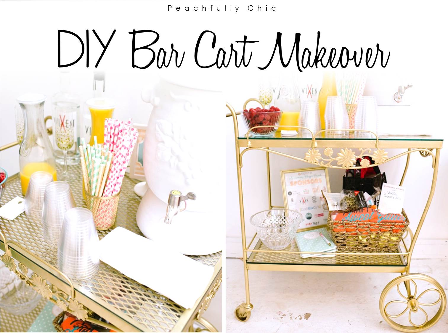 peachfully-chic-diy-bar-cart-gold-vintage-makeover-main