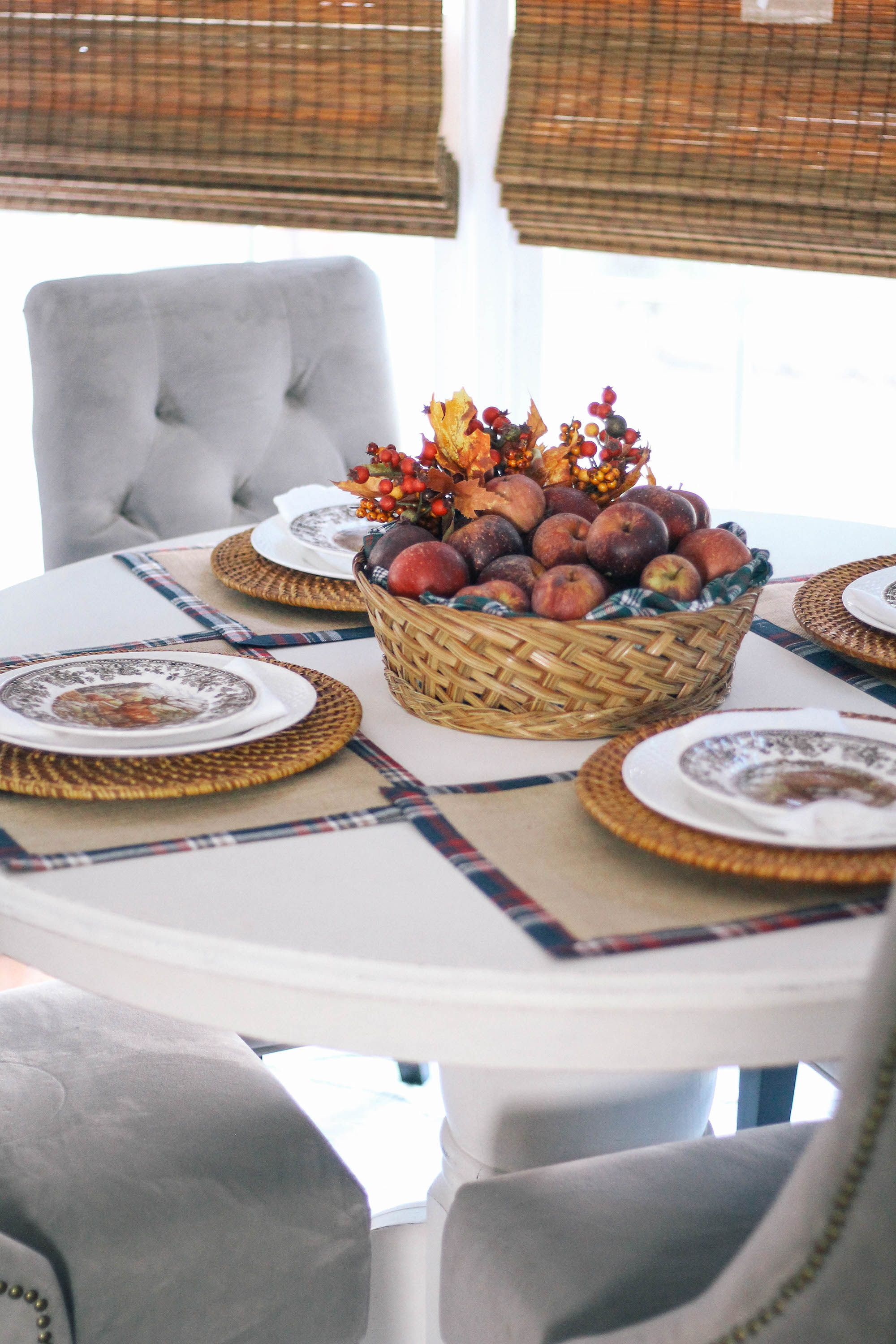 Fall-Tablescape-Animal-Game-China-apple-centerpiece-gray-colors-decor