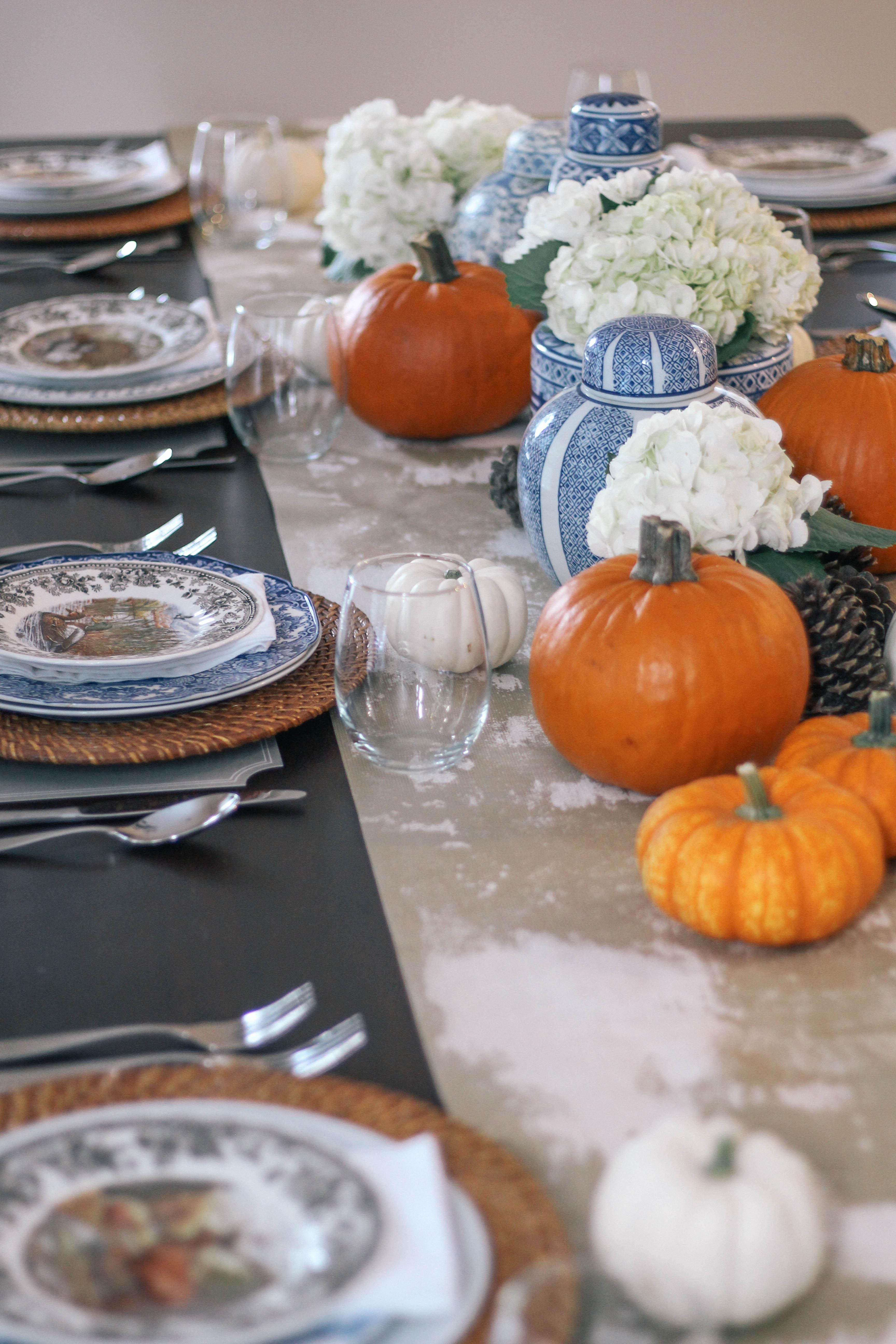 fall-tablescape-blue-orange-ginger-jars-animal-game-china-plates