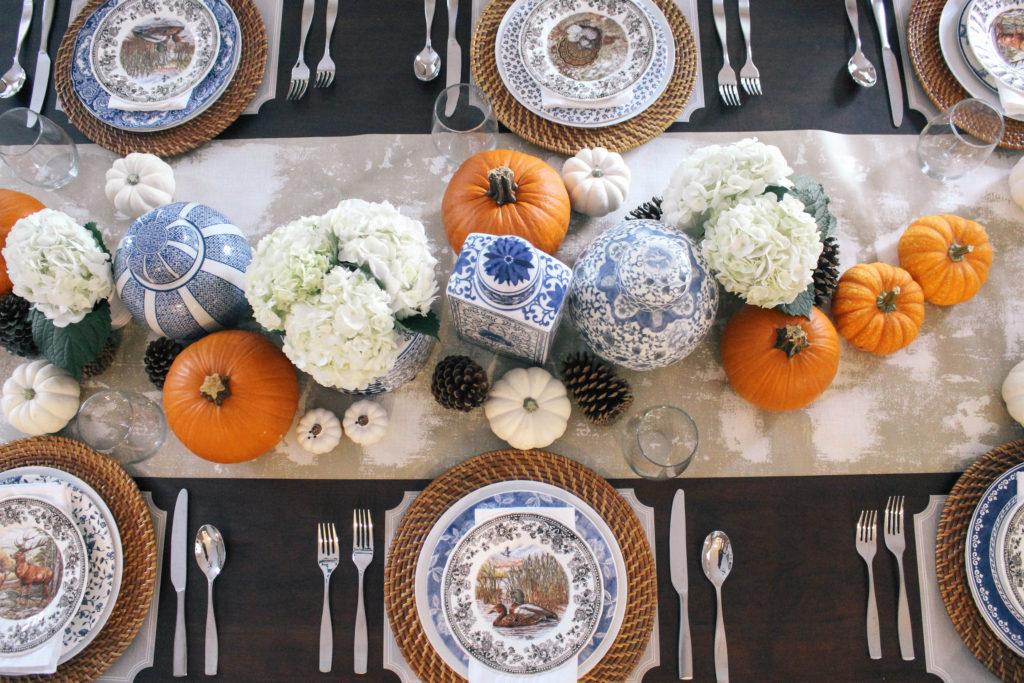 Thanksgiving-Tablescape-Blue-White-Orange-Ginger-Jars-Decor
