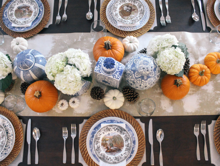 Thanksgiving-Tablescape-Blue-White-Orange-Ginger-Jars-Decor