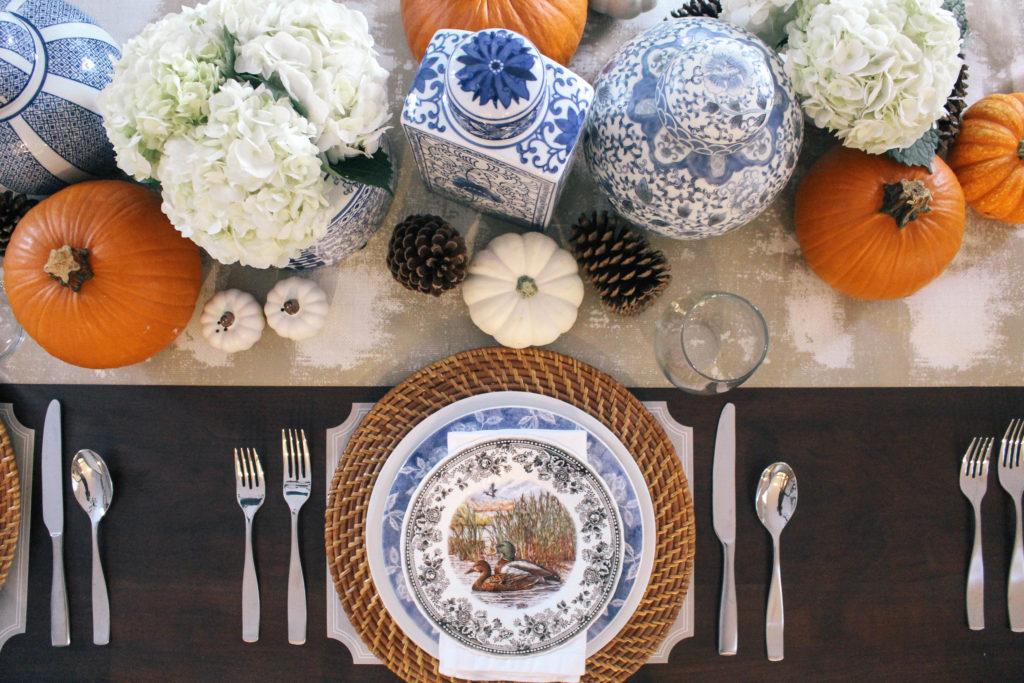 Thanksgiving-Tablescape-Ginger-Jars-Pumpkins-Blue-White-Orange-1