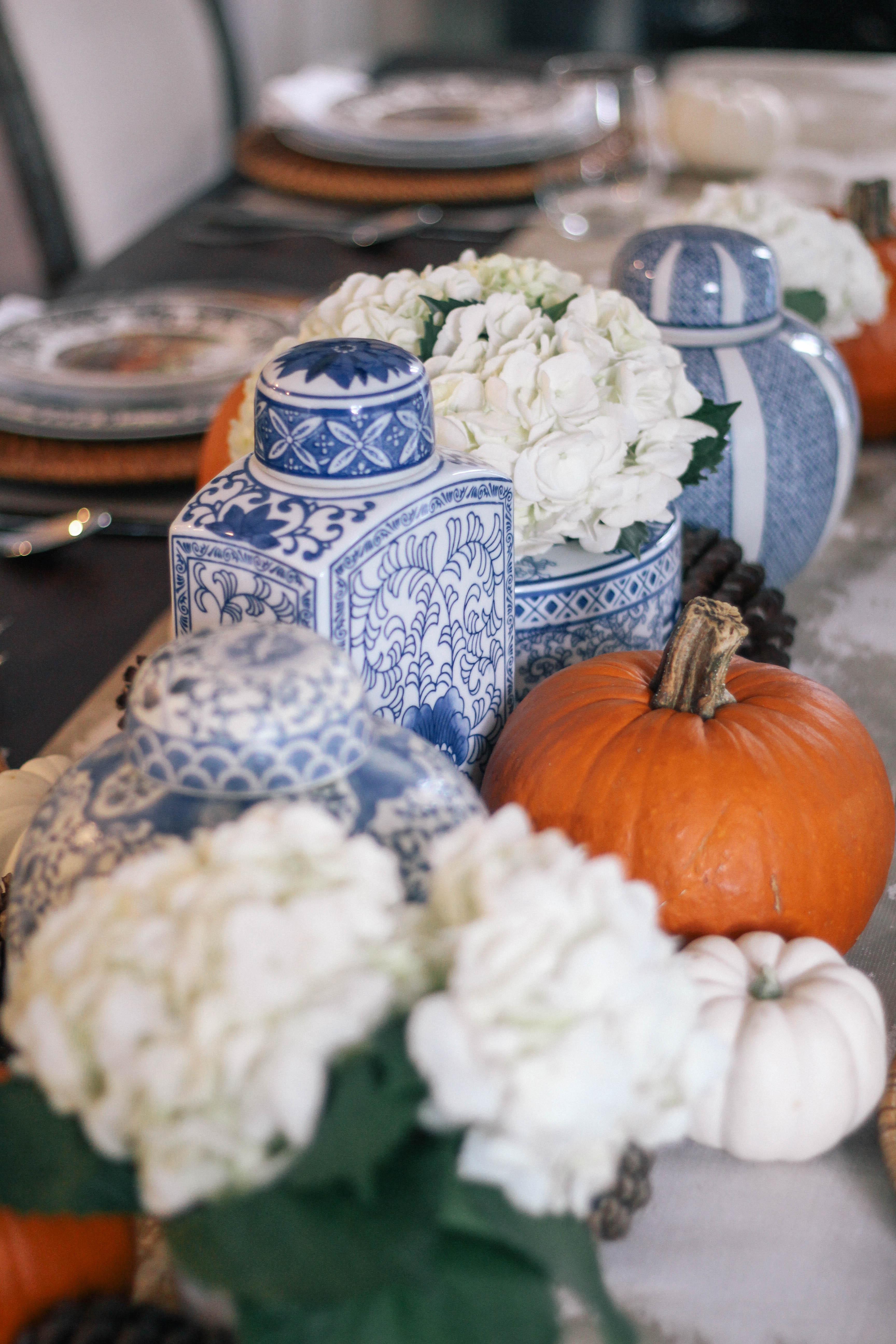Thanksgiving-Tablescape-Ginger-Jars-Pumpkins-Blue-White-Orange-2