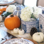 Thanksgiving-Tablescape-Ginger-Jars-Pumpkins-Blue-White-Orange-3