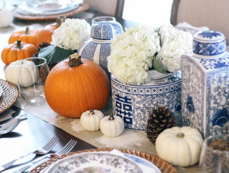 Thanksgiving-Tablescape-Ginger-Jars-Pumpkins-Blue-White-Orange-3