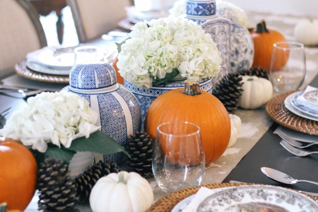 Thanksgiving-Tablescape-Ginger-Jars-Pumpkins-Blue-White-Orange-4