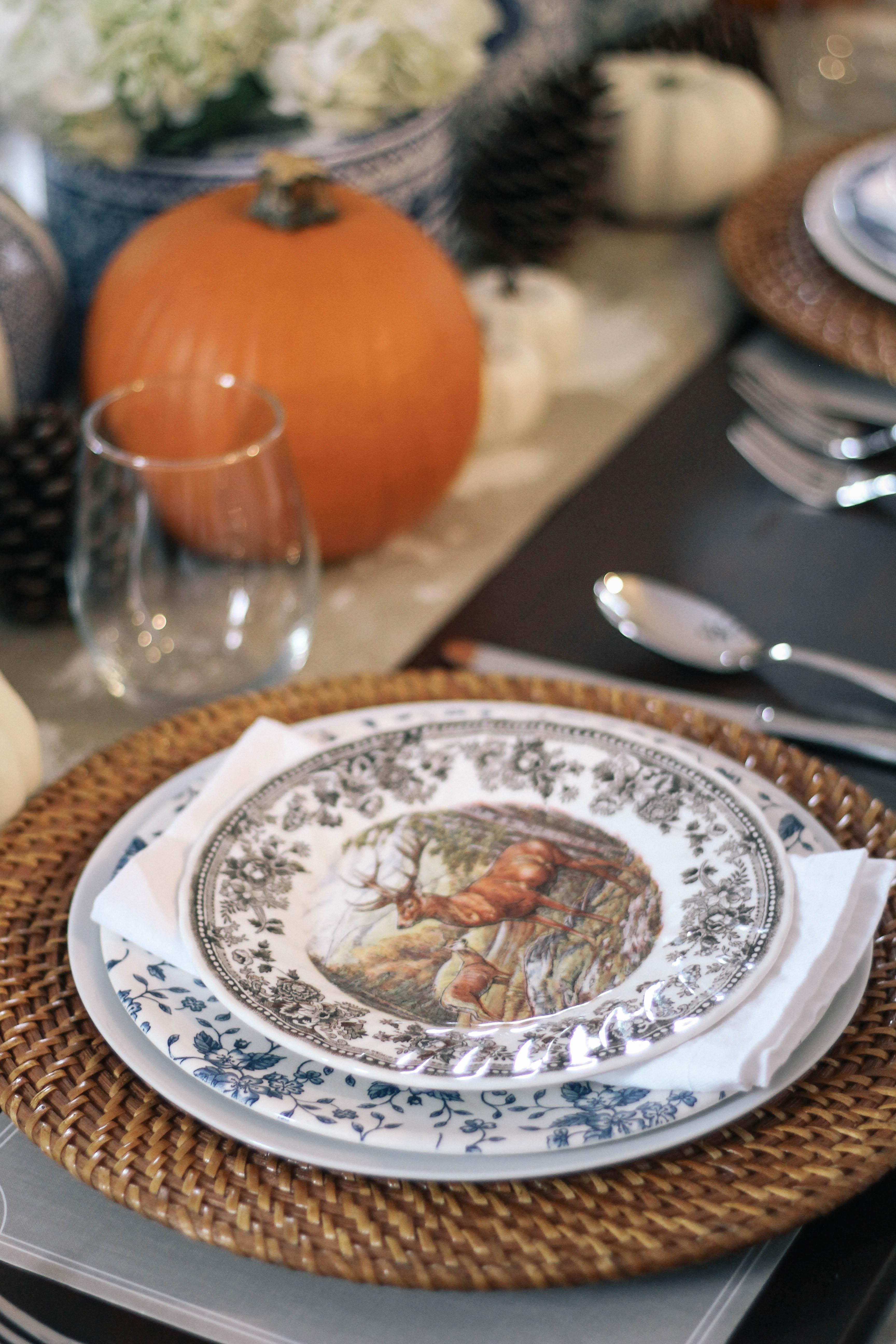 Thanksgiving-Tablescape-Ginger-Jars-Pumpkins-Blue-White-Orange-Animal-Game-Plate-China-2