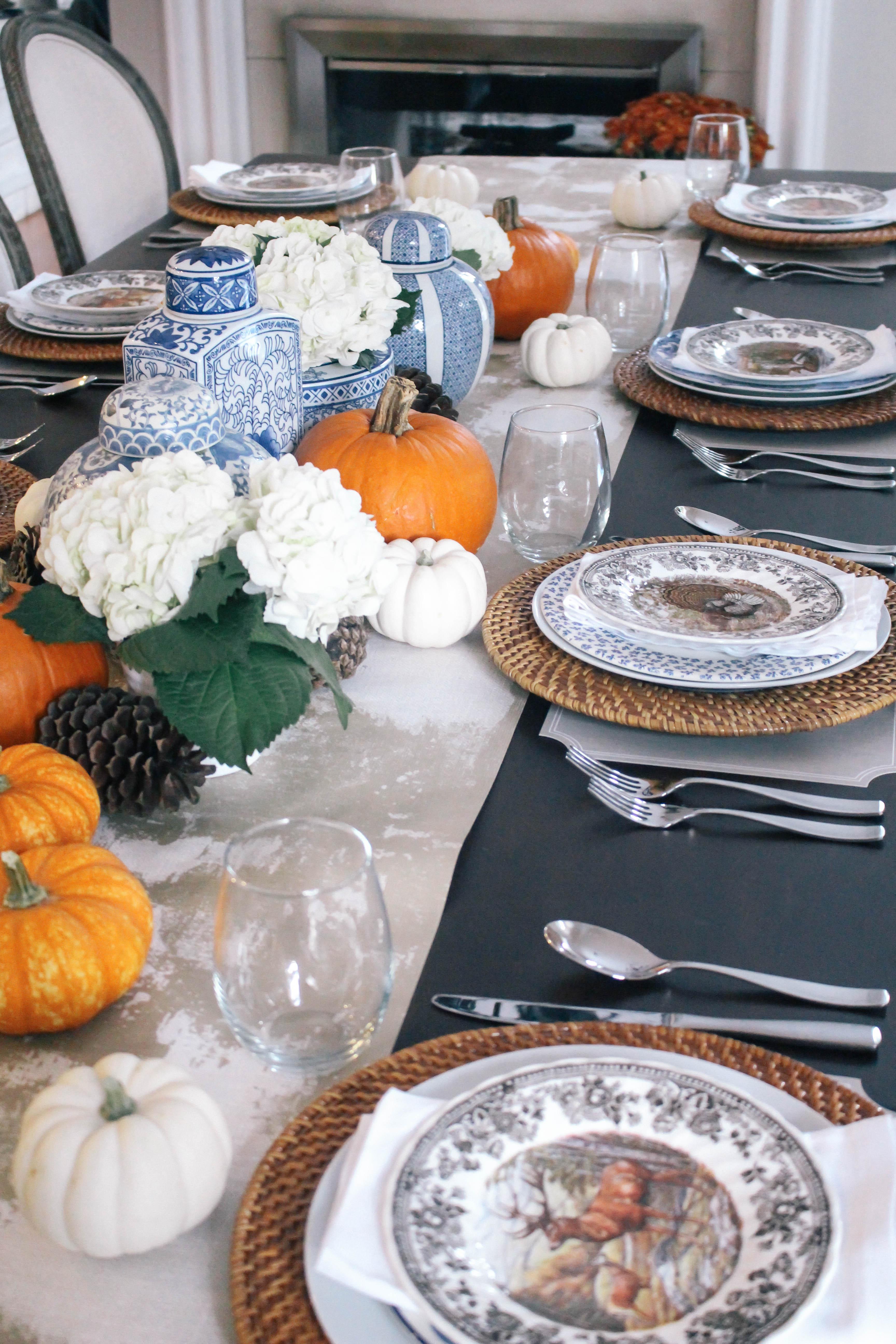 Thanksgiving-Tablescape-Ginger-Jars-Pumpkins-Blue-White-Orange-Animal-Game-Plate-China-3