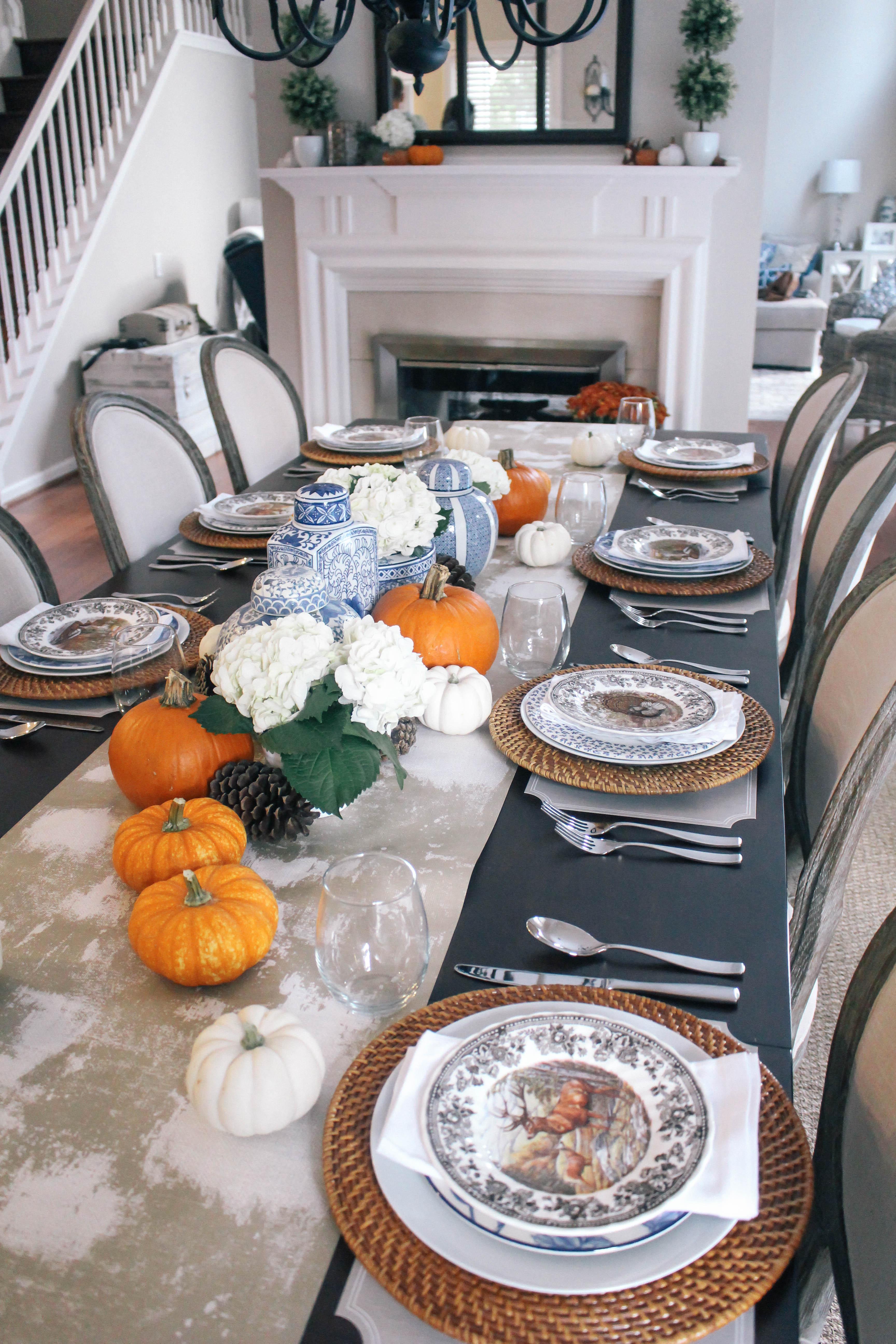 Thanksgiving-Tablescape-Ginger-Jars-Pumpkins-Blue-White-Orange-Animal-Game-Plate-China-4