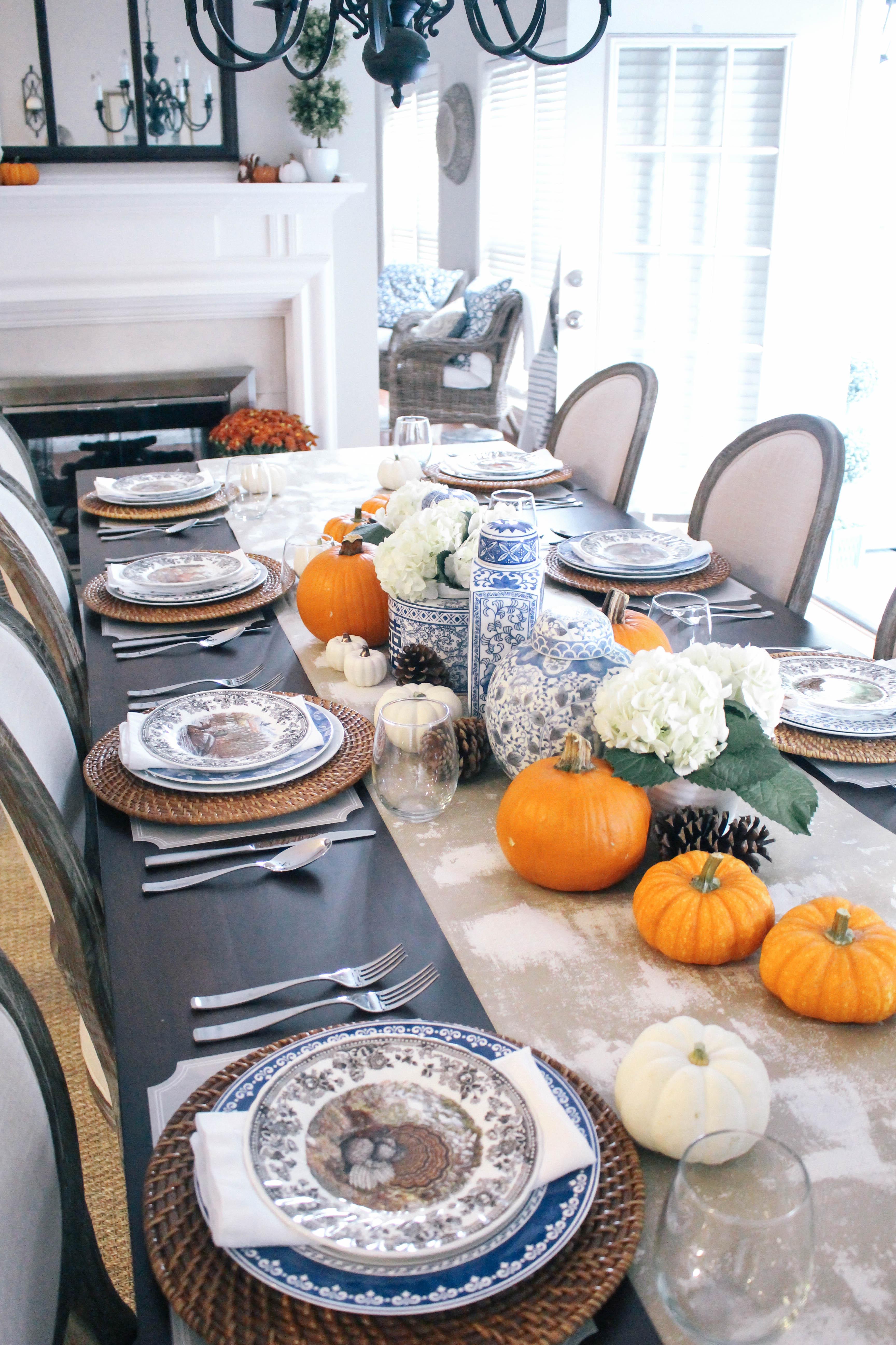 Thanksgiving-Tablescape-Ginger-Jars-Pumpkins-Blue-White-Orange-Animal-Game-Plate-China-6
